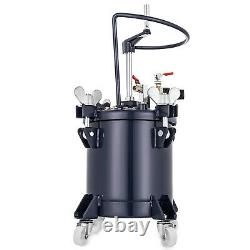 10 Liters Spray Paint Pressure Pot Tank Roll Caster 4 Casters Mixing Agitator