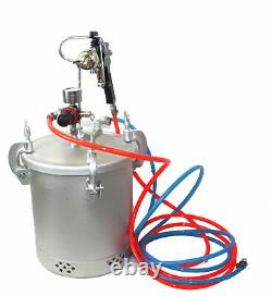 2-1/2 Gallon Air Paint Pressure Pot Aluminum Tank Spray Gun Sprayer & Hoses