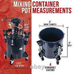 2-1/2 Gallon PRESSURE FEED PAINT POT TANK Spray Gun Sprayer Reg Air Mix Agitator