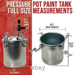 2-1/2 Gallon PRESSURE FEED PAINT TANK POT for SPRAY GUN SPRAYER Regulator Gauge