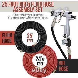 25 Foot Air and Fluid Hose Assembly Set for Spray Guns, Paint Pressure Pot Tanks