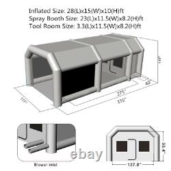 28x15x10FT. Inflatable Paint Booth Portable Spray Paint Car Tent with Air Pumps
