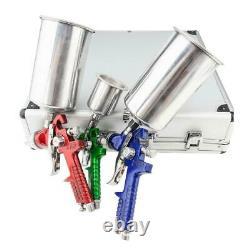 3 HVLP Air Spray Gun Kit Auto Paint Car Primer Detail Basecoat Clearcoat with Case