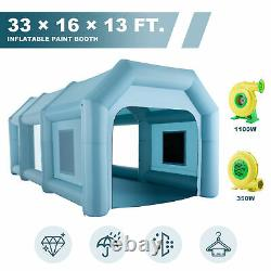 33 × 16 × 13 ft. Inflatable Paint Booth Portable Spray Paint Car Tent Air Pumps