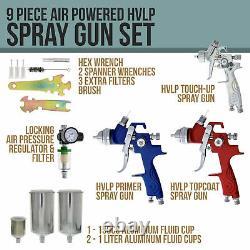 9 pc Set 3 HVLP SPRAY GUN KIT Auto Paint Primer Topcoat Detail Regulator Filter