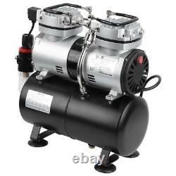 Air Compressor Pump Airbrush Kit 1/4HP Dual Cylinder Spray Set Tattoo Nail Art