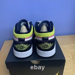 Air Jordan 1 Low Black Active Fuchsia Cyber Spray Paint CW5564-001 Men's 12