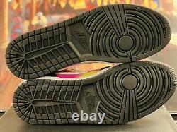 Air Jordan 1 Low Black Active Fuchsia Cyber Spray Paint CW5564-001 Men's 13