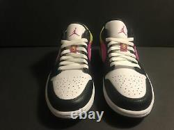 Air Jordan 1 Low Black Active Fuchsia Cyber Spray Paint CW5564-001 Men's 9.5