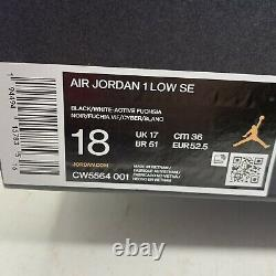 Air Jordan 1 Low'Spray Paint' Black Sneaker, Size 18 BNIB CW5564-001