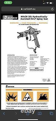 BINKS- MACH 3SL air assisted airless Paint spray gun with assories