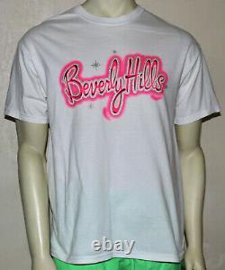 Beverly Hills graffiti spray paint air brush look glitter t-shirt L pink