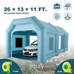 Blow Up Paint Booth Portable Spray Paint Tent w Air Filters & Pumps 26×13×11 ft