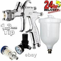 DeVilbiss FLG-5 1.3mm Paint Air Spray Gun + Air Filter & Pressure Regulator