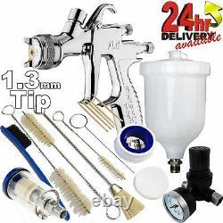 DeVilbiss FLG-5 1.3mm Paint Air Spray Gun + Air Filter/Regulator/Cleaning Kit