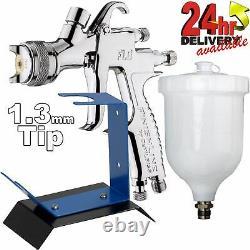 DeVilbiss FLG-5 1.3mm Paint Air Spray Gun + Bench Mount Stand