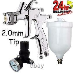 DeVilbiss FLG-5 2.0mm Paint Air Spray Gun + Air Pressure Regulator