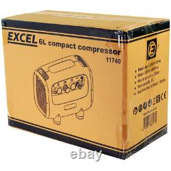 Excel Air Compressor 230V 6L 300W For Spray Painting, Tyre Inflator Air Brushing