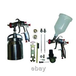 Lvlp spray gun kit sprayit paint gravity air aluminum tool guns siphon body