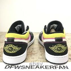 Nike Air Jordan 1 Low Black Active Fuchsia Cyber Spray Paint CW5564-001 Men's 17