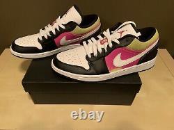 Nike Air Jordan 1 Low Black/Fuchsia Spray Paint Men's Size 10.5 (#CW5564-001)
