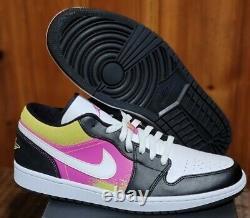 Nike Air Jordan 1 Low Cyber Spray Paint Black Fuchsia Retro Men 12 CW5564 001