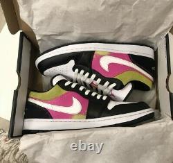 Nike Air Jordan 1 Low SE Fuchsia Cyber Spray Paint CW5564-001 Mens Size 11.5