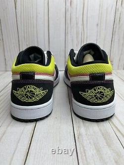 Nike Air Jordan 1 Low Spray Paint Mens Size 13 Black Active Fuchsia CW5564 001