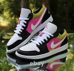 Nike Air Jordan 1 Low Spray Paint Mens Size 8.5 Black Fuchsia Cyber CW5564-001