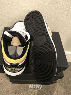 Nike Air Jordan 1 Low Spray Paint Pink Yellow CW5564 001 Size 7