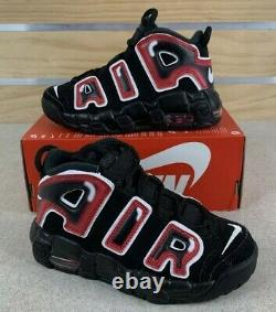 Nike Air More Uptempo PS Laser Crimson Spray Paint AA1554-010 Size 2Y