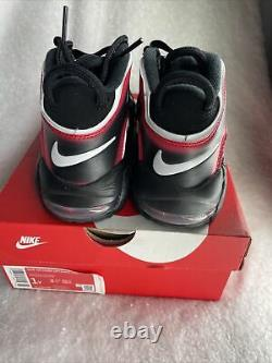Nike Air More Uptempo PS Laser Crimson Spray Paint Shoes AA1554-010 Size 1Y