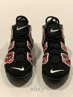 Nike Air More Uptempo PS Laser Crimson Spray Paint Shoes AA1554-010 Size 2Y