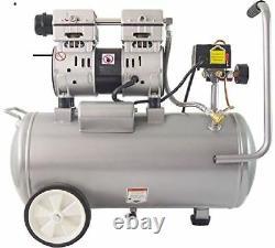 Portable Electric Quiet Oil-Free Air Compressor 8 Gal Tank 1HP Dual Piston Pump