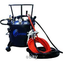 Pressure Pot Paint Sprayer 5 Gal. HVLP Spray Gun Hose Kit Removable Caster Wheel