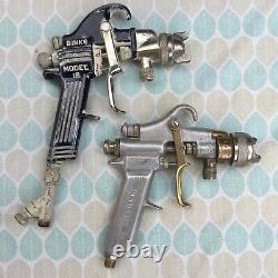 Vintage Binks Devilbiss Lot 4 Spray Guns Paint Sprayers + Accessories & Gauges