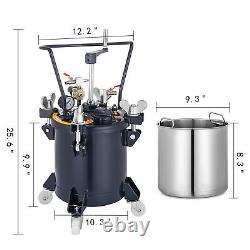 10 Litres Vaporisateur De Peinture Pot De Pression Rouleau De Réservoir Roulette 4 Roulettes Mélangeur Agitateur