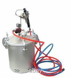 2-1/2 Gallon Air Paint Pressure Pot Aluminium Tank Spray Gun Sprayer & Hoses