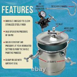 2-1/2 Gallon Pression Fourniture Paint Tank Pot Pour Spray Gun Sprayer Regulator Gauge
