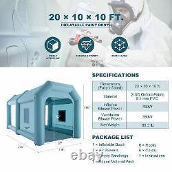 20x10x10ft Poitrine De Peinture Gonflable Portable Vaporisateur Tente De Voiture De Peinture Avec Filtre À Air