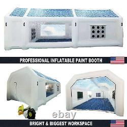 28x15x11ft Poitrine De Peinture Gonflable 2 Chambre Spray De Peinture Tente De Voiture Avec Souffleurs D'air