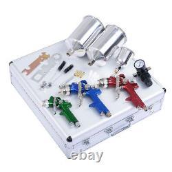 3 Hvlp Air Spray Gun Kit Auto Paint Car Primer Détail Basecoat Clearcoat Superb