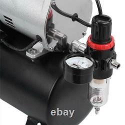Air Compresseur Pompe Airbrush Kit 1/4hp Dual Cylinder Spray Set Tattoo Nail Art