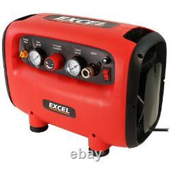 Compresseur D'air Excel 230v 6l 300w Pour Peinture En Aérosol, Brossage De L'air Du Gonfleur De Pneus