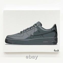 Fnnch Original Nike Air Force 1 Af1 Peinture De Spray Noir Sur Toile Le 5 Signé