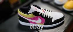 Nike Air Jordan 1 Low Cyber Spray Paint Noir Fuchsia Retro Hommes 12 Cw5564 001