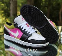 Nike Air Jordan 1 Peinture À Faible Vaporisation Hommes Taille 8.5 Noir Fuchsia Cyber Cw5564-001