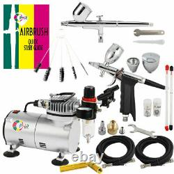 Ophir 2pcs Airbrush Kit Avec Pro Air Compressor Air Brush Spray Paint Gun Hobby