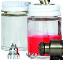 Siphon-fed 0,9mm Airbrush Kit Peinture Détail Ventilateur Spray Conseil Cas De Tuyau D'air Boitier En Verre