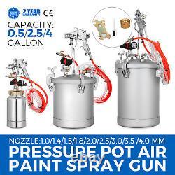Vaporisateur De Peinture En Pot À Pression De 0,5/2.5/4 Gallons 1/4 Entrée D'air 2/10/15 L Ensemble D'outils